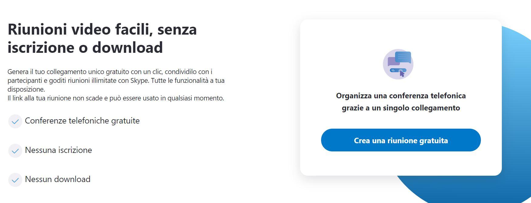 crea riunione gratuita skype meet now
